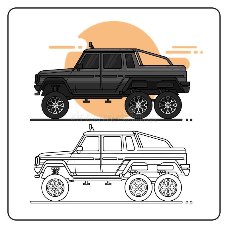 Vue de côté de camion tous terrains de monstre illustration de vecteur
