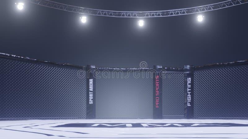 Vue de côté d'arène de Muttahida Majlis-e-Amal Cage vide de combat sous des lumières rendu 3d image libre de droits