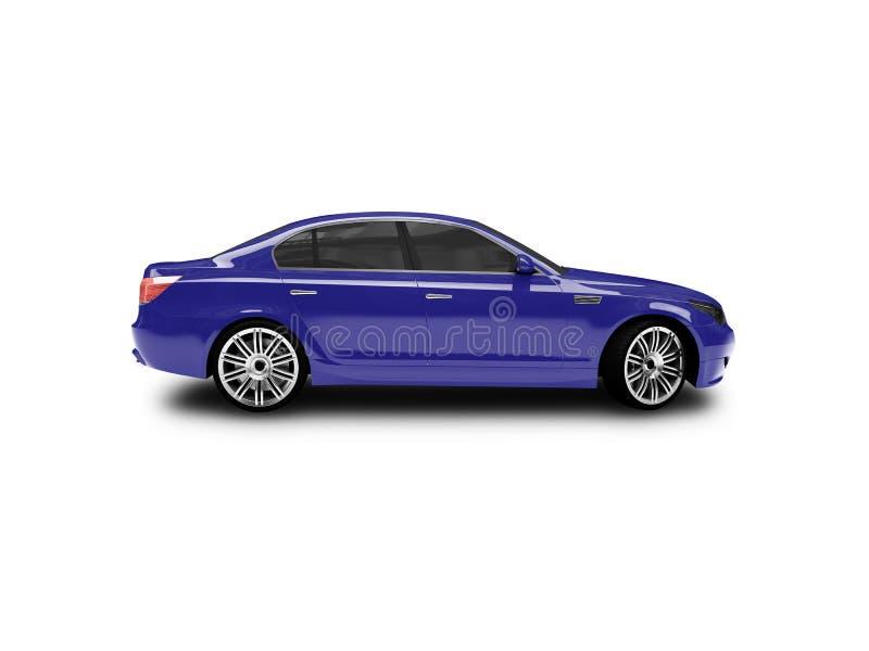 Vue de côté d'isolement de véhicule bleu illustration de vecteur