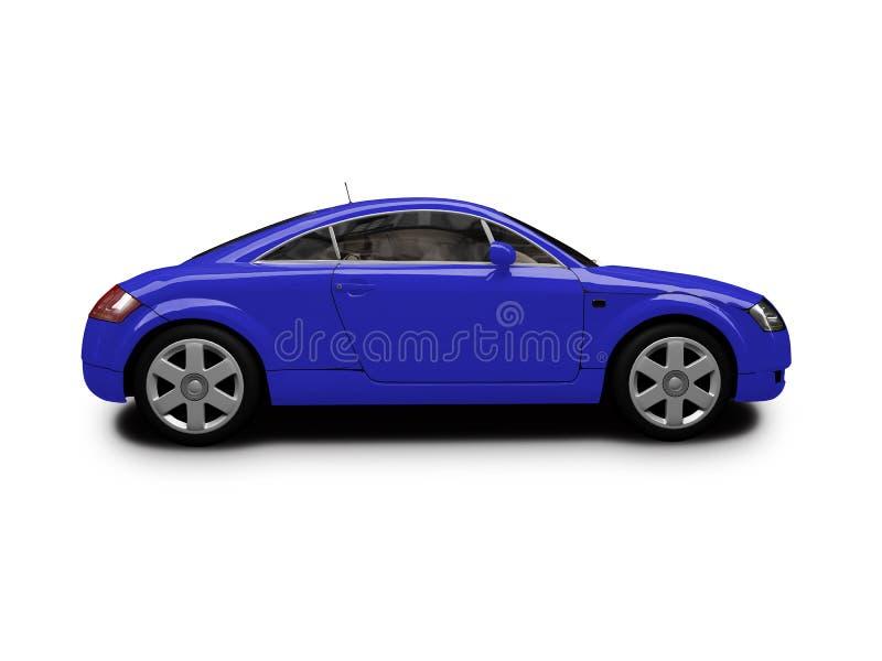 Vue de côté d'isolement de véhicule bleu illustration libre de droits