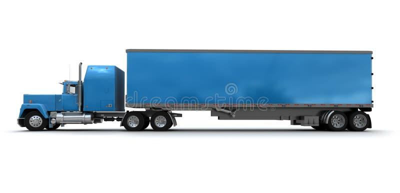 Vue de côté d'un grand camion de remorque bleu illustration stock