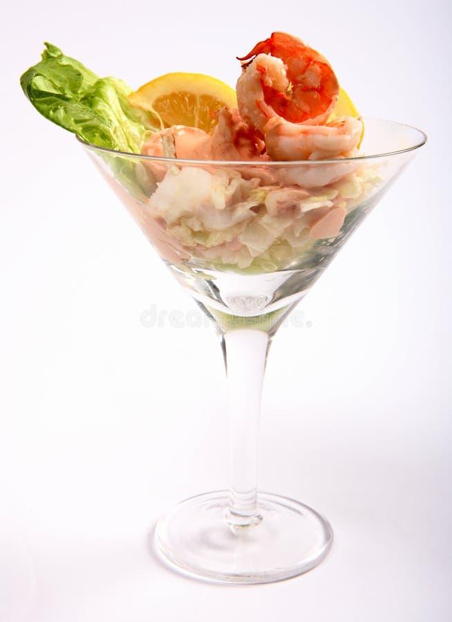 Vue de côté de cocktail de crevette rose photo stock