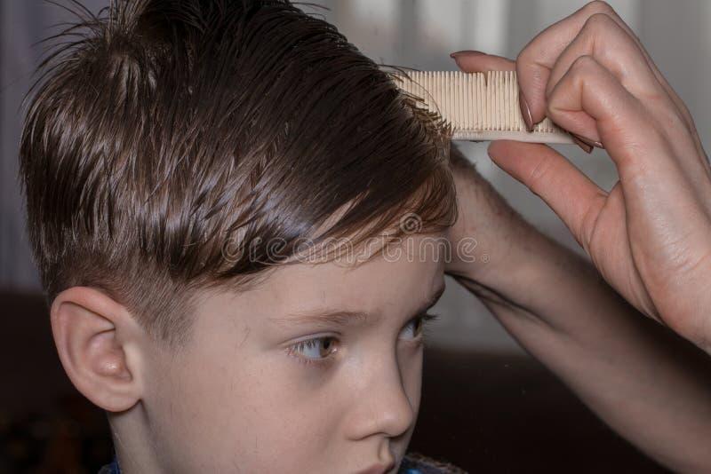 Vue de côté du petit garçon mignon obtenant la coupe de cheveux par le coiffeur à t image stock