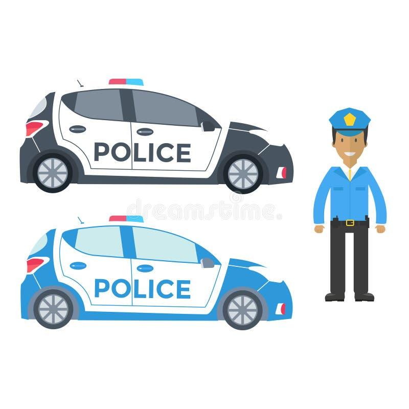 Vue de côté et dirigeant de voiture de police de vecteur d'isolement sur le blanc avec f illustration de vecteur