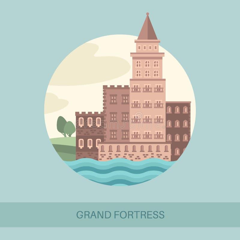 Vue de côté de forteresse ou showplace de touriste illustration libre de droits