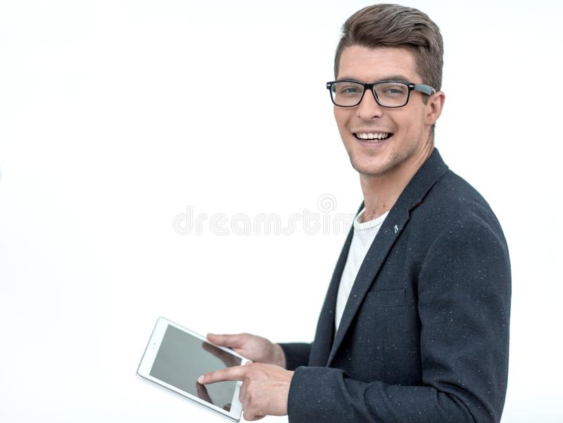 Vue de côté Jeune homme d'affaires Using Digital Tablet photos stock