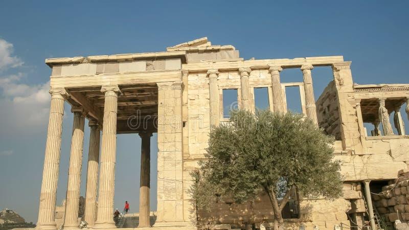 Vue de côté de l'erechthion à Athènes, Grèce photos libres de droits