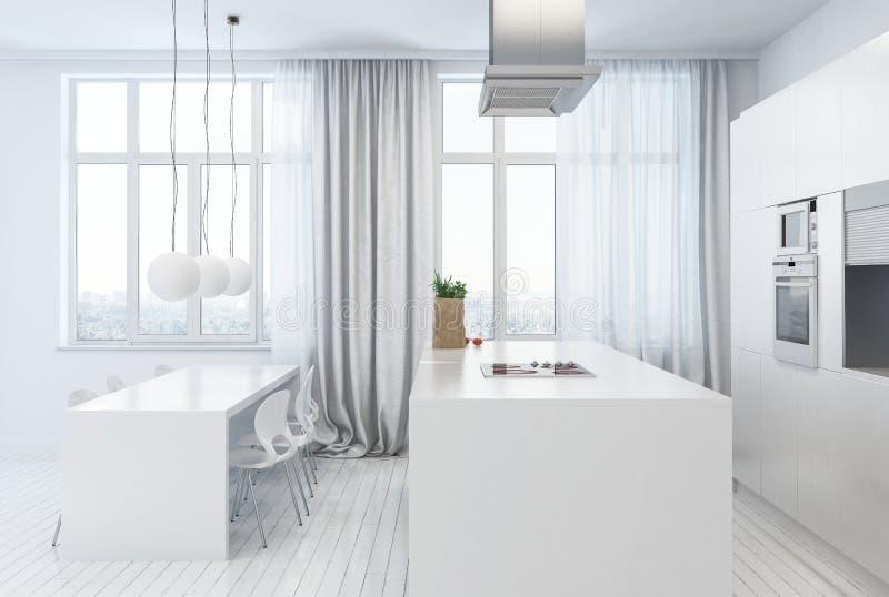 Vue de côté de la cuisine blanche avec la table de salle à manger illustration de vecteur