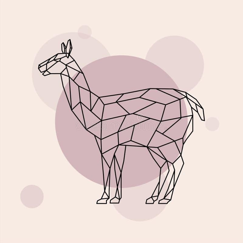 Vue de côté de lama Style géométrique illustration libre de droits
