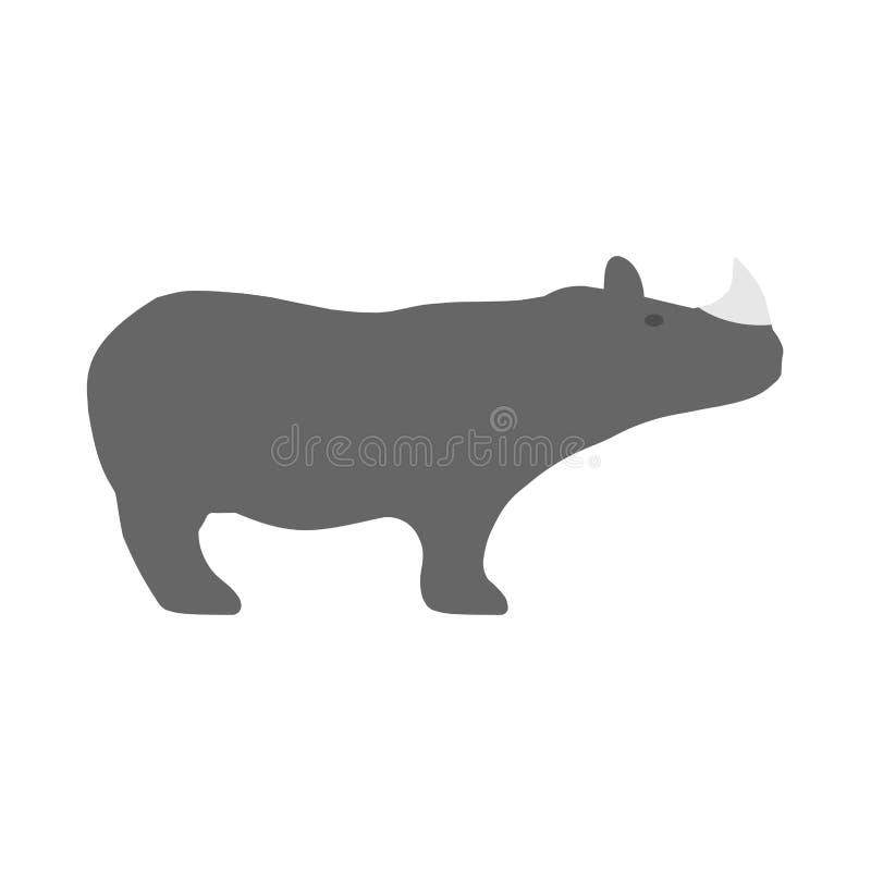 Vue de côté mise en danger grande par nature d'icône de vecteur de forme de rhinocéros Mammif?re herbivore de l'Afrique de silhou illustration stock