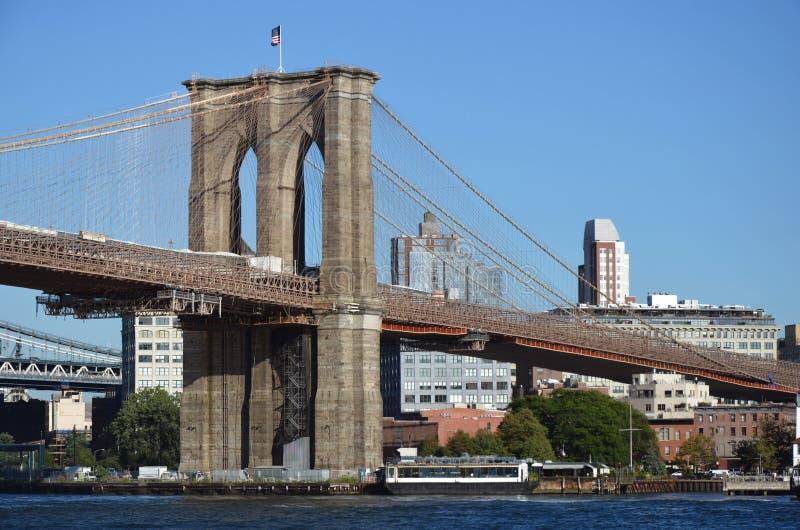 Vue de côté de pont de Brooklyn avec le ciel clair photos stock