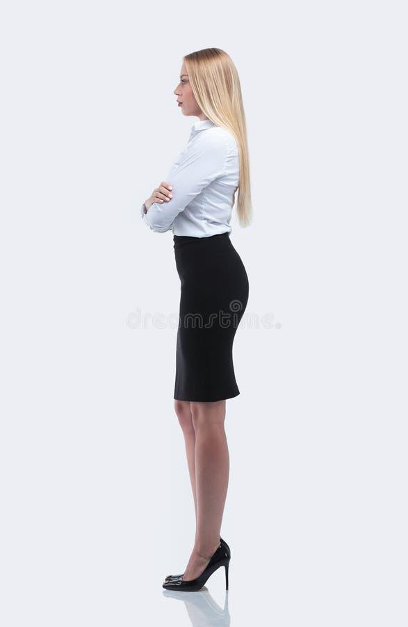 Vue de côté portrait intégral d'une femme responsable d'affaires image stock