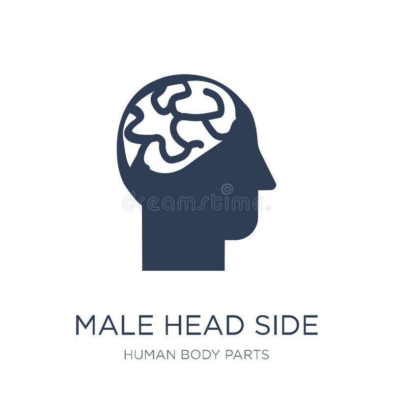 Vue de côté principale masculine avec l'icône de cerveaux Mâle plat à la mode de vecteur il illustration de vecteur