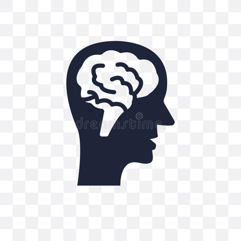 Vue de côté principale masculine avec l'icône transparente de cerveaux Côté principal masculin illustration stock