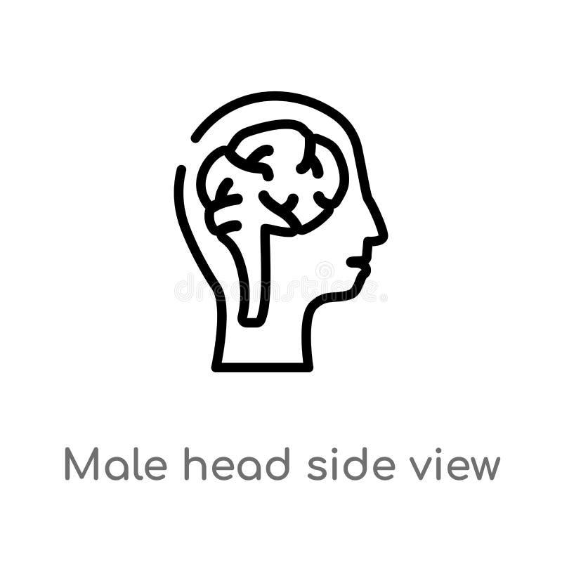 vue de côté principale masculine d'ensemble avec l'icône de vecteur de cerveaux ligne simple noire d'isolement illustration d'?l? illustration de vecteur