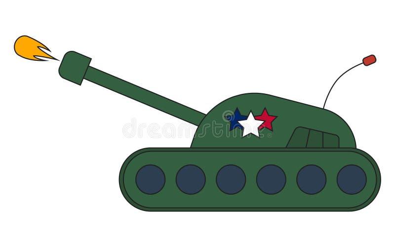 Vue de côté de projectile de tir de char de combat de guerre, bande dessinée d'illustration de vecteur illustration stock