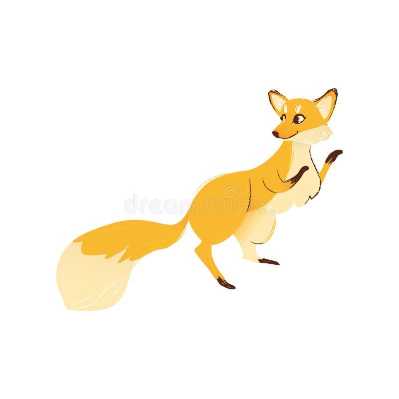 Vue de côté de renard se tenant sur les jambes de derrière avec les avant augmentées vers le haut du style de bande dessinée illustration stock