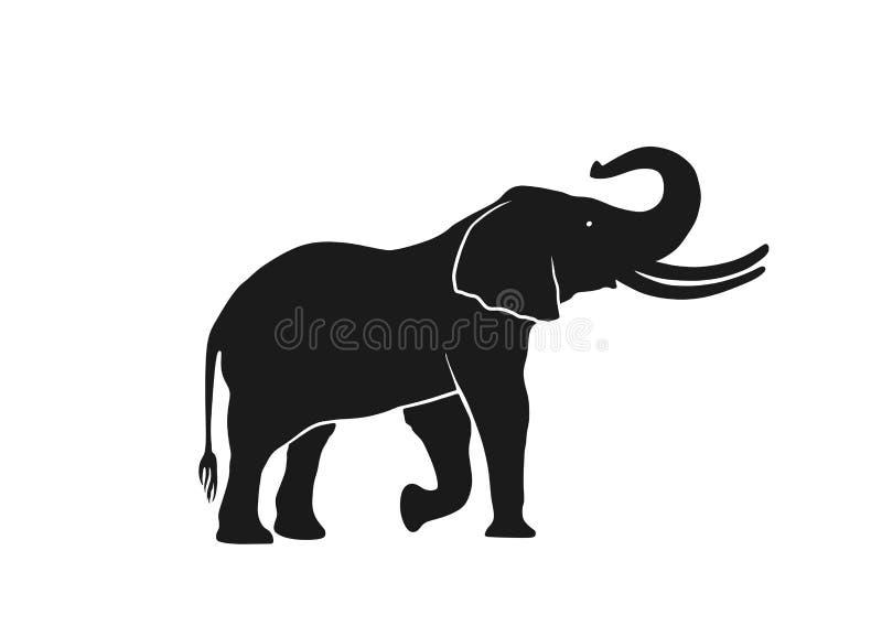 Vue de côté de silhouette d'éléphant image d'isolement d'animal sauvage illustration stock