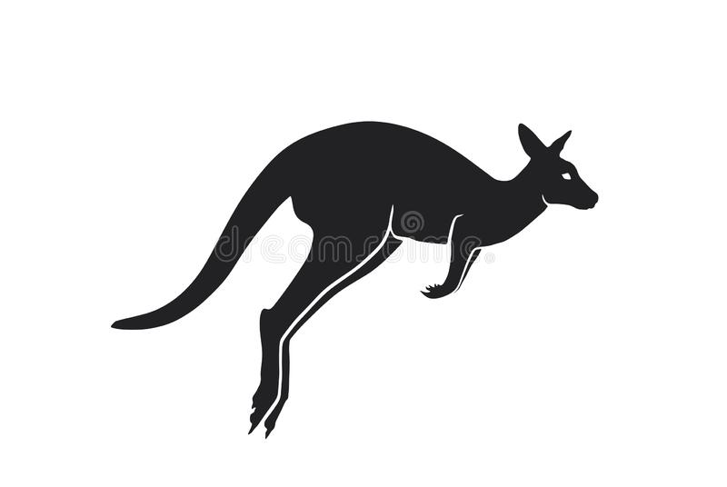 Vue de côté de silhouette de kangourou image d'isolement de vecteur d'animal sauvage australien illustration libre de droits