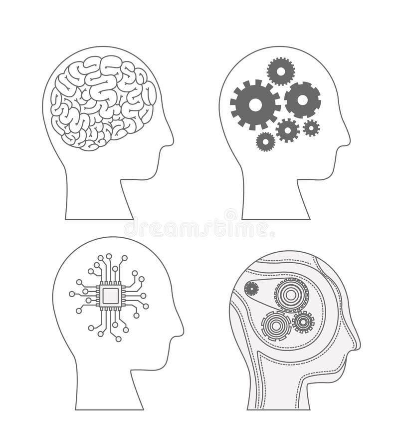 Vue de côté de têtes d'humains avec les cerveaux hybrides en silhouette monochrome illustration stock