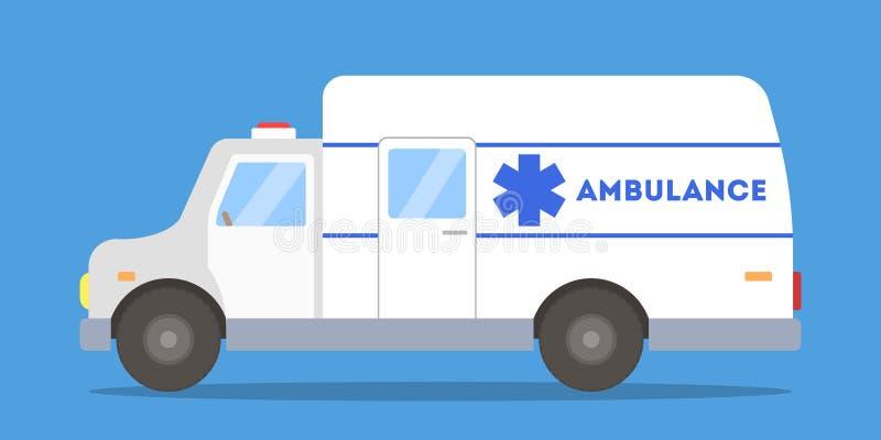 Vue de côté de voiture blanche et bleue d'ambulance illustration stock
