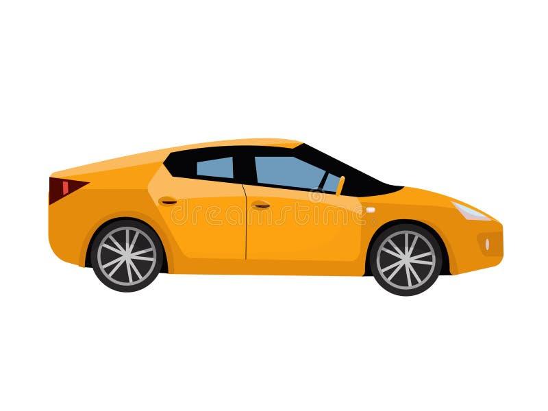 Vue de côté de voiture jaune de ville Voiture détaillée moderne Véhicule jaune de berline Automobile moderne, transport de person illustration libre de droits