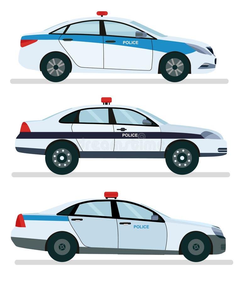 Vue de côté de voiture de police d'isolement sur le blanc Desi plat de bande dessinée de vecteur illustration stock