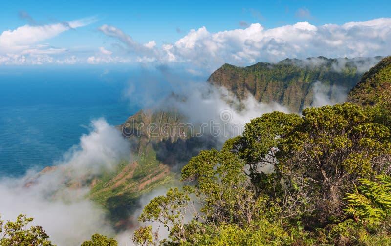 Vue de côte Kauai Hawaï de napali images libres de droits