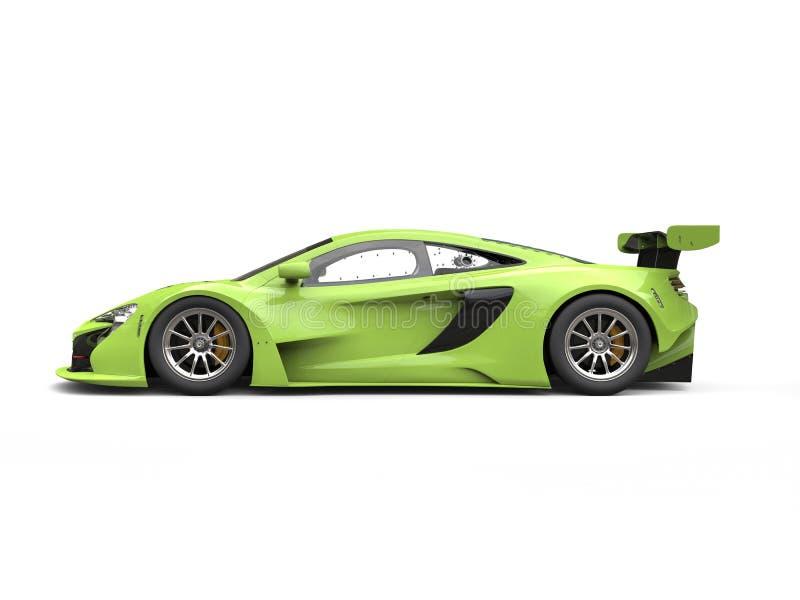 Vue de côté automobile de course moderne brillante verte illustration libre de droits
