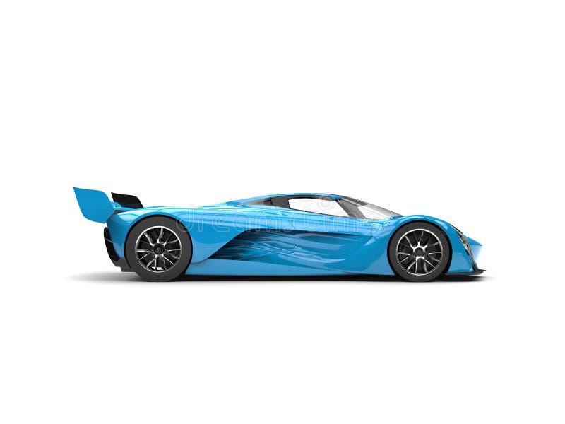 Vue de côté automobile de course superbe bleue azurée illustration libre de droits