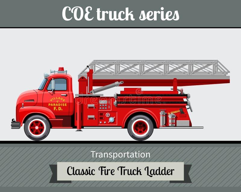 Vue de côté d'échelle classique de camion de pompiers illustration de vecteur