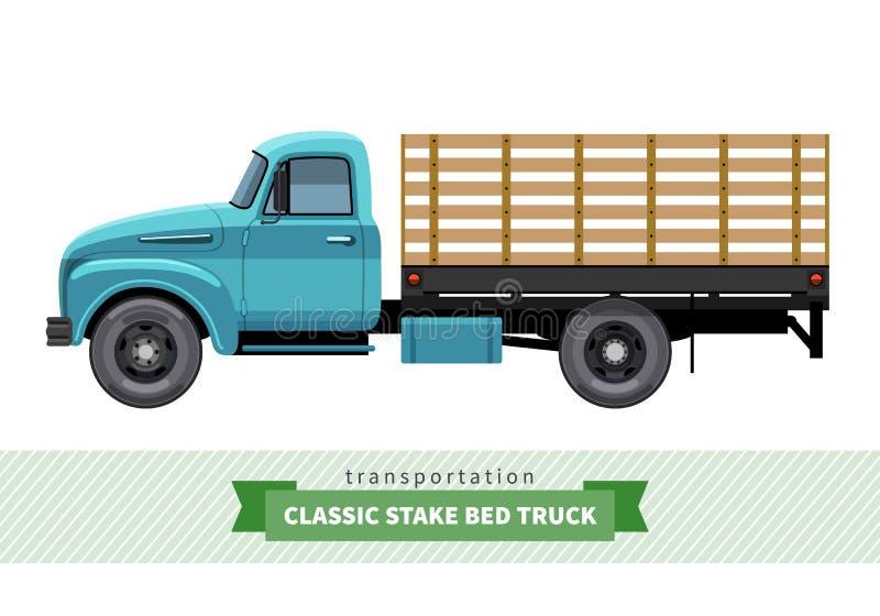 Vue de côté d'enjeu de camion classique de lit illustration stock