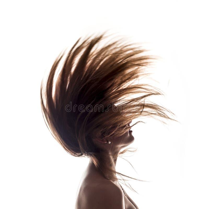 Vue de côté d'isolement de portrait de femme photographie stock