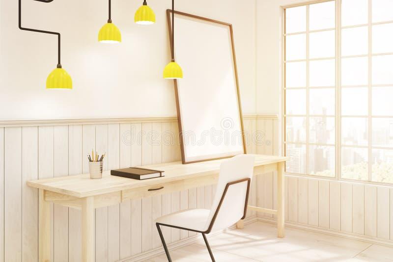Vue de côté d'un siège social avec une lampe futuriste, modifiée la tonalité illustration de vecteur