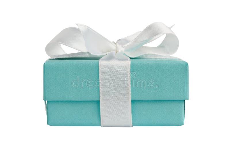 Vue de côté de boîte-cadeau d'isolement de turquoise sur le blanc photographie stock libre de droits