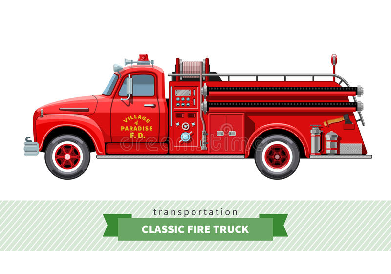 Vue de côté de camion de pompiers à usage moyen classique illustration de vecteur