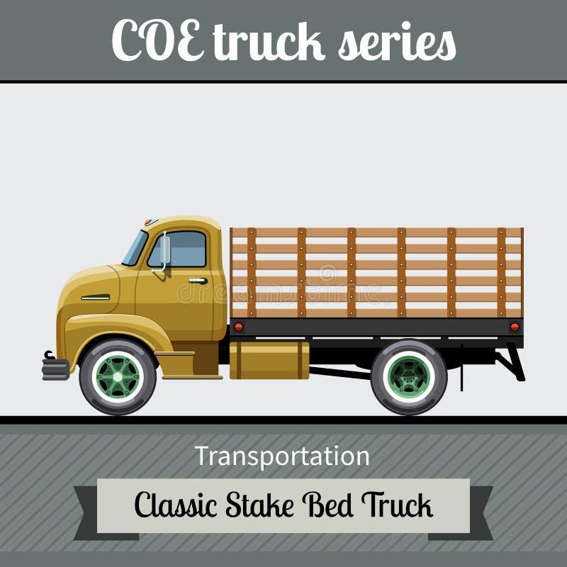 Vue de côté de COE d'enjeu de camion classique de lit illustration libre de droits