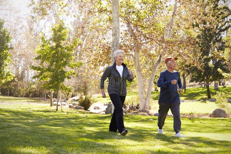 Vue de côté de la puissance supérieure de couples marchant par le parc images libres de droits