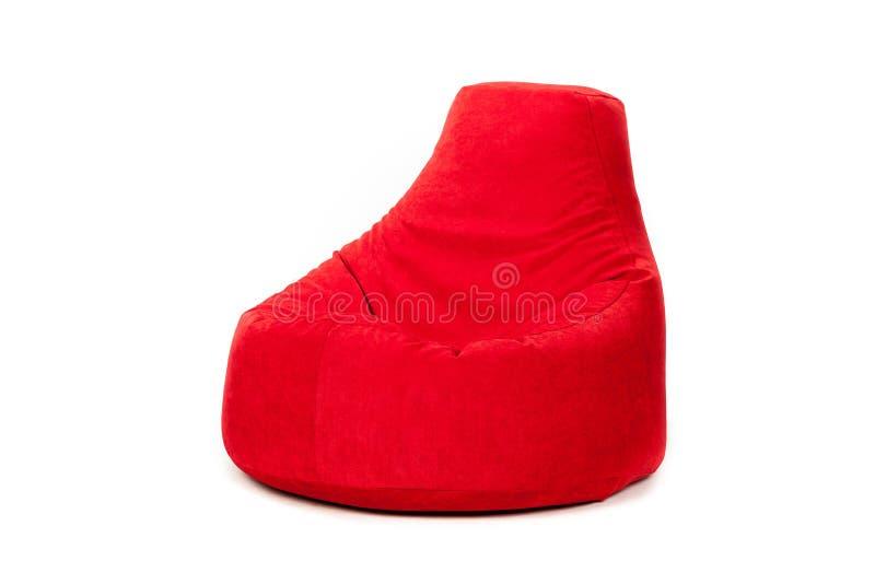 Vue de côté de nouveau et mou sac à haricots rouge intéressant image stock
