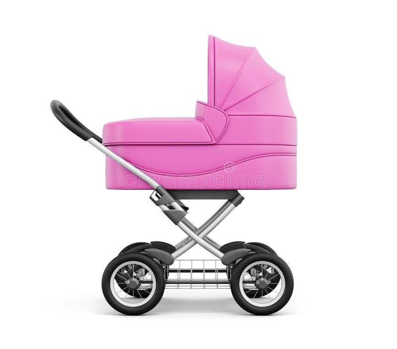Vue de côté de poussette de bébé sur un fond blanc rendu 3d illustration stock