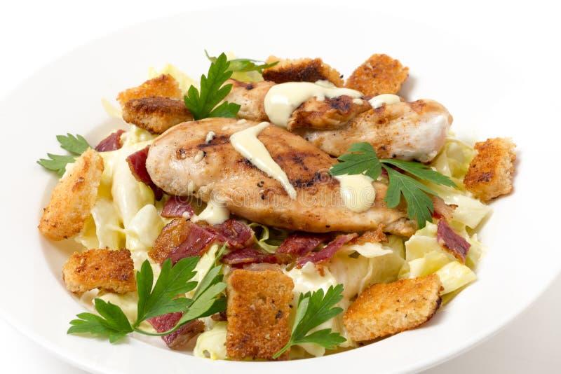 Vue de côté de salade de César de poulet photo stock