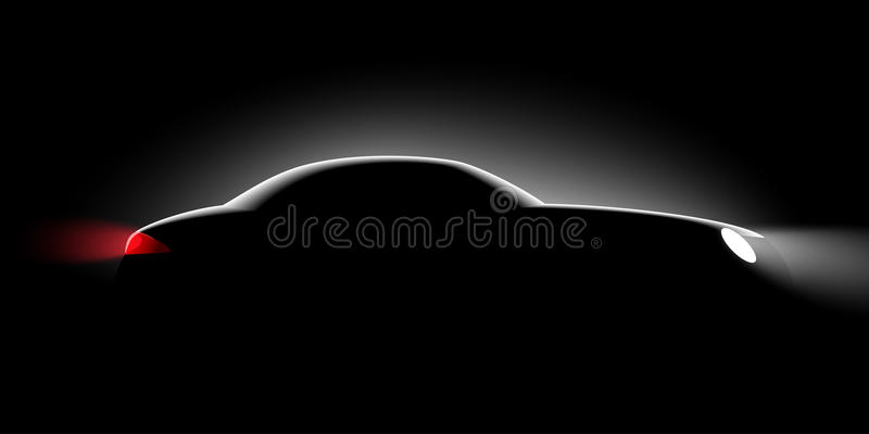 Vue de côté de voiture réaliste dans l'obscurité illustration stock
