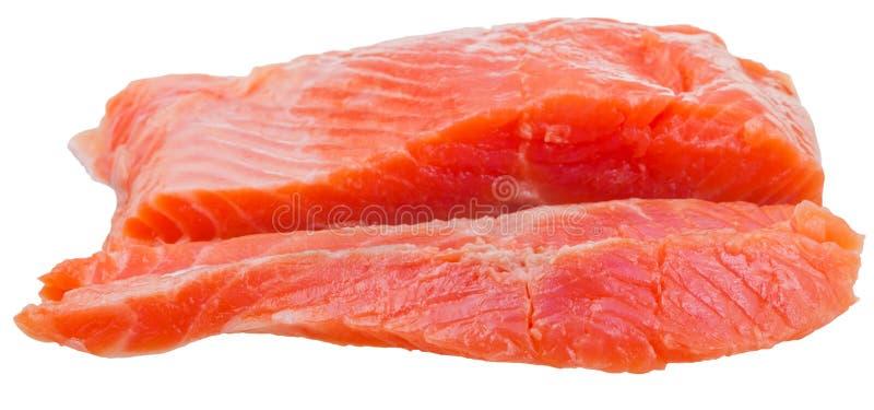 Vue de côté des poissons légèrement salés découpés en tranches de rouge de truite photo libre de droits