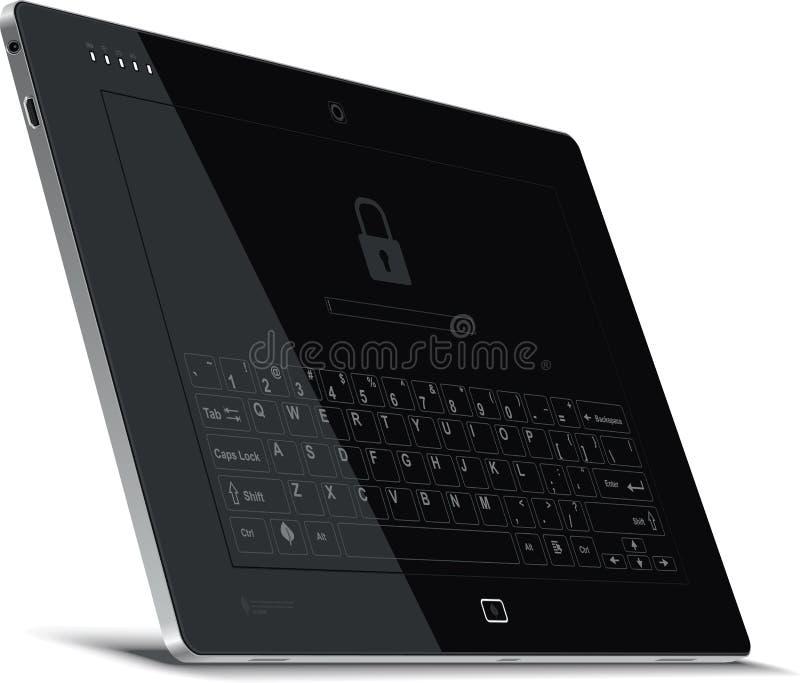 Vue de côté gauche de Tablette de vecteur avec le clavier virtuel illustration libre de droits