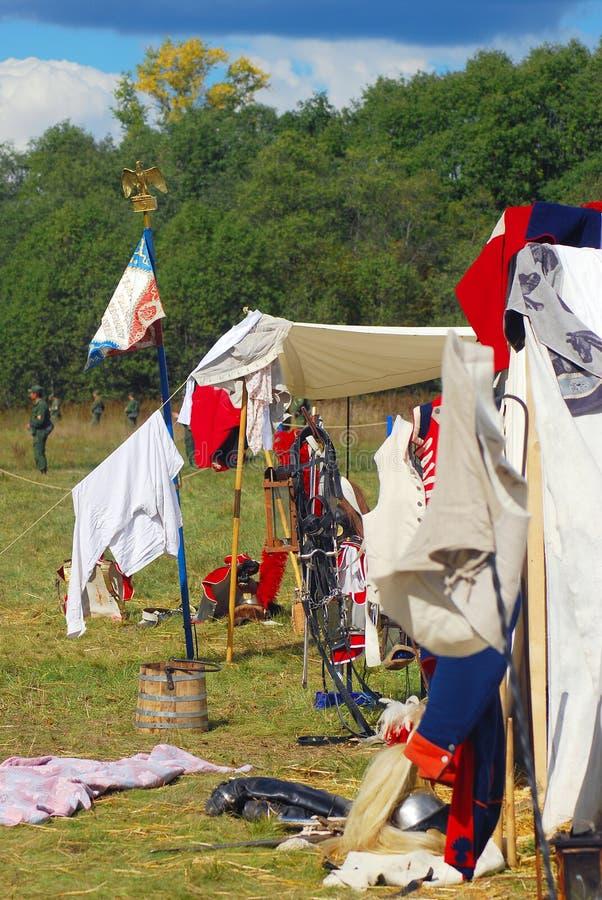 Vue de camp français Vagues françaises de drapeau image stock