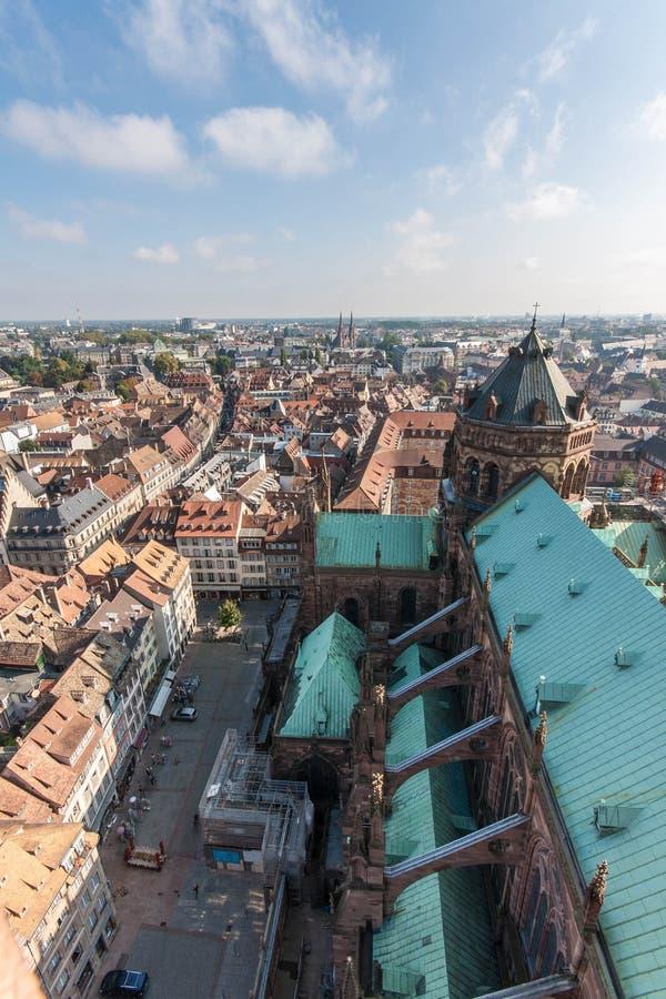 Vue de cathédrale Notre-Dame à Strasbourg image stock