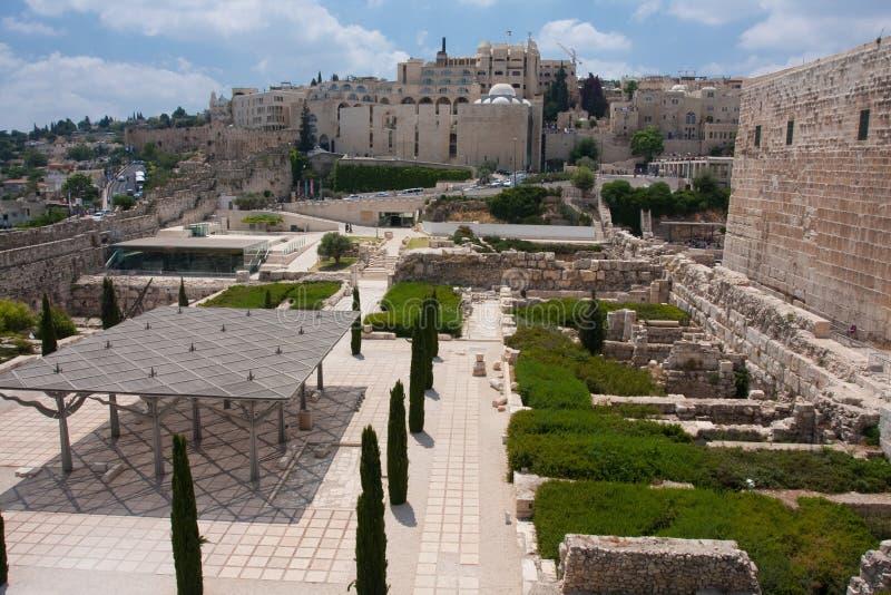 Vue de centre de Davidson, support Jérusalem de temple images libres de droits
