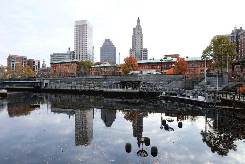 Vue de centre-ville de Providence, Île de Rhode images libres de droits