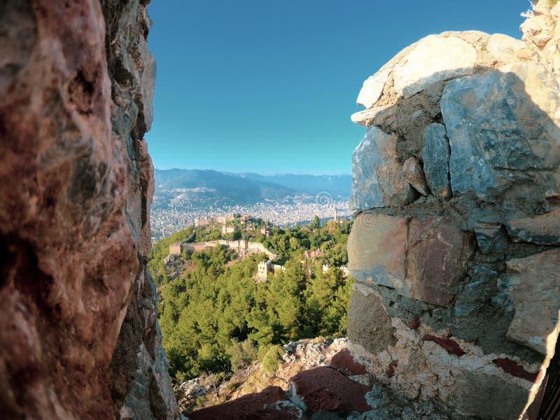 Vue de château d'Alanya Architecture, citadelle photographie stock