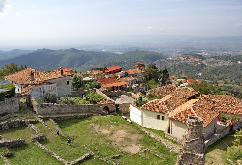 Vue de château de Skanderbeg, Kruje, Albanie photo stock